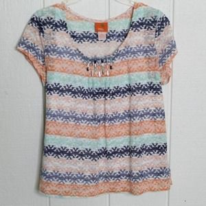 Hearts Of Palm Striped Shear Top L